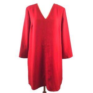 Gap Red V Neck Swing Shift Dress